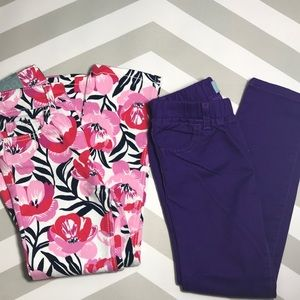 New Baby Gap Skinny Jeans Sz 5 floral pink purple